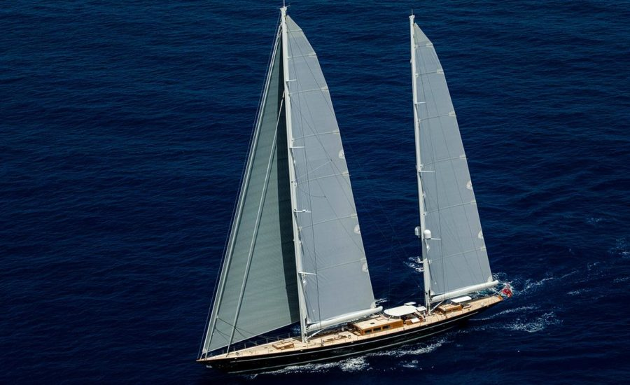 Royal Huisman sailing yacht Aquarius filmed underway